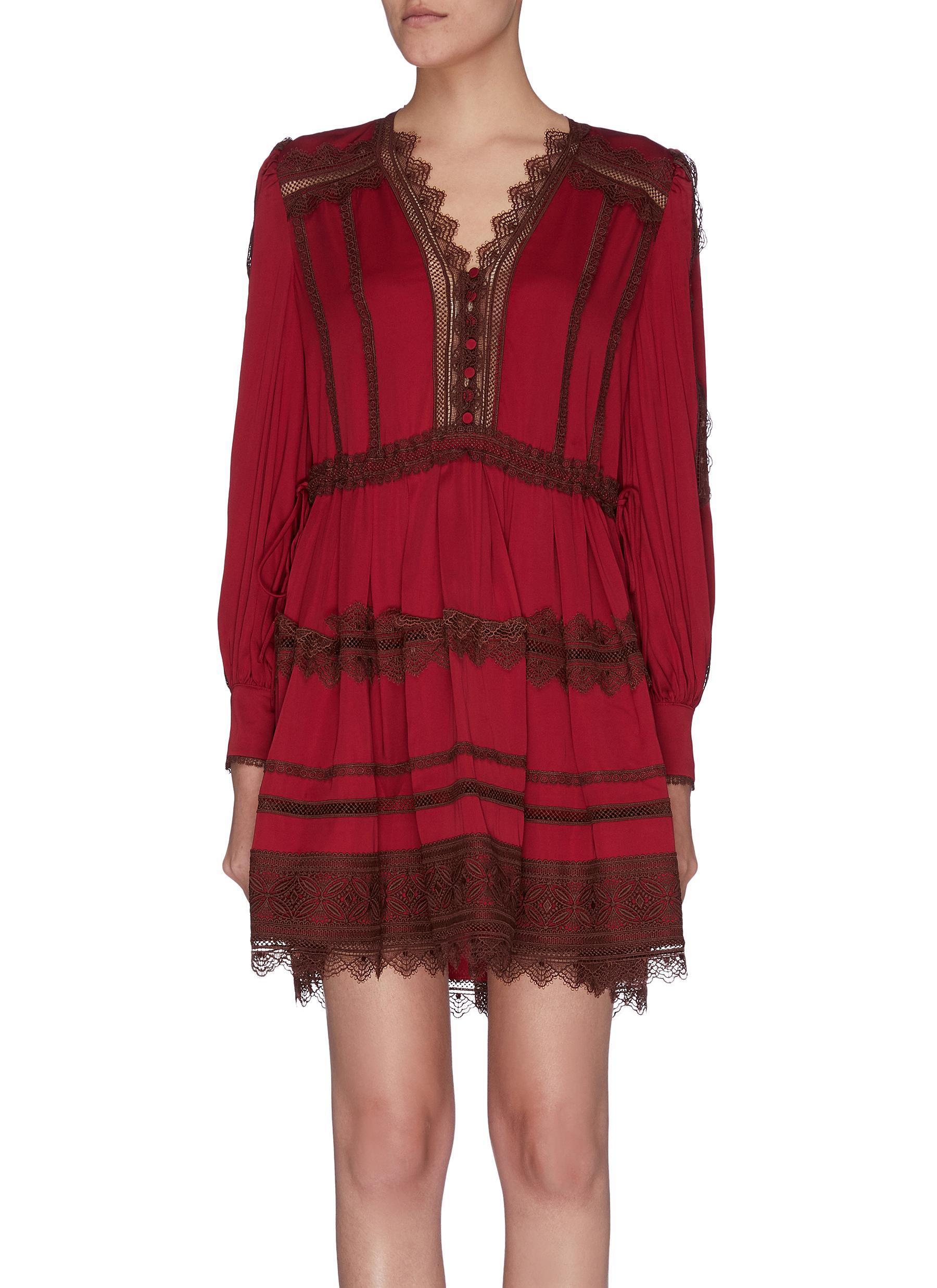 shop Self-Portrait Chantilly lace panel mini dress online