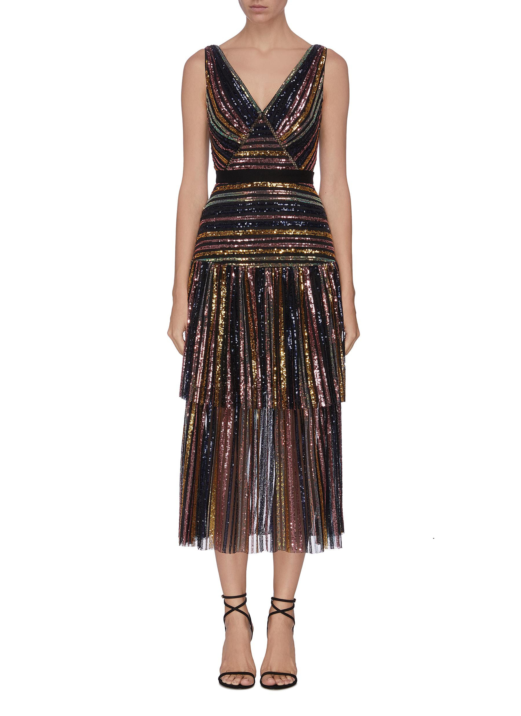 shop Self-Portrait Stripe sequin midi dress online