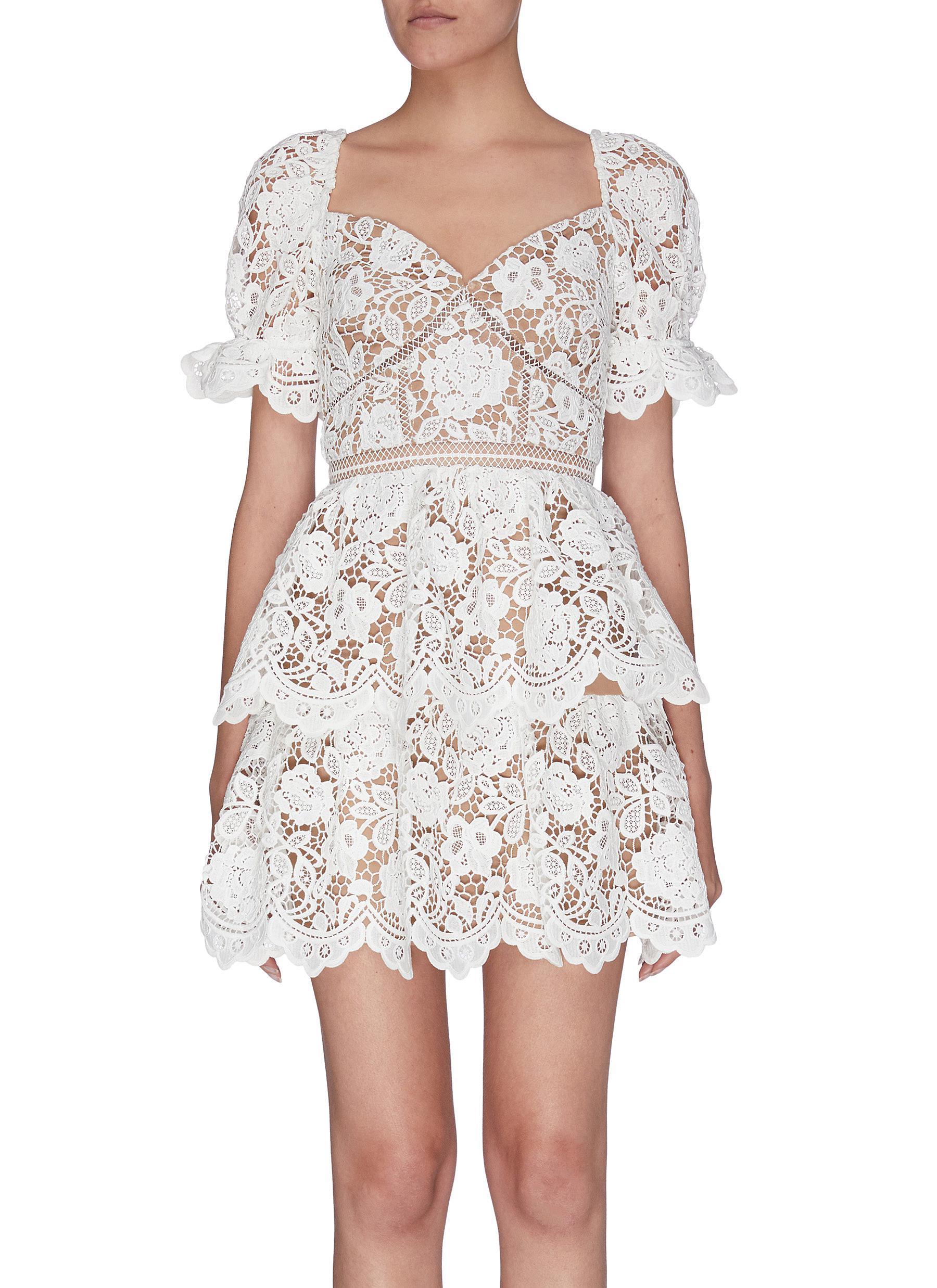 Buy Self-Portrait Dresses Guipure lace ruffle tiered dress