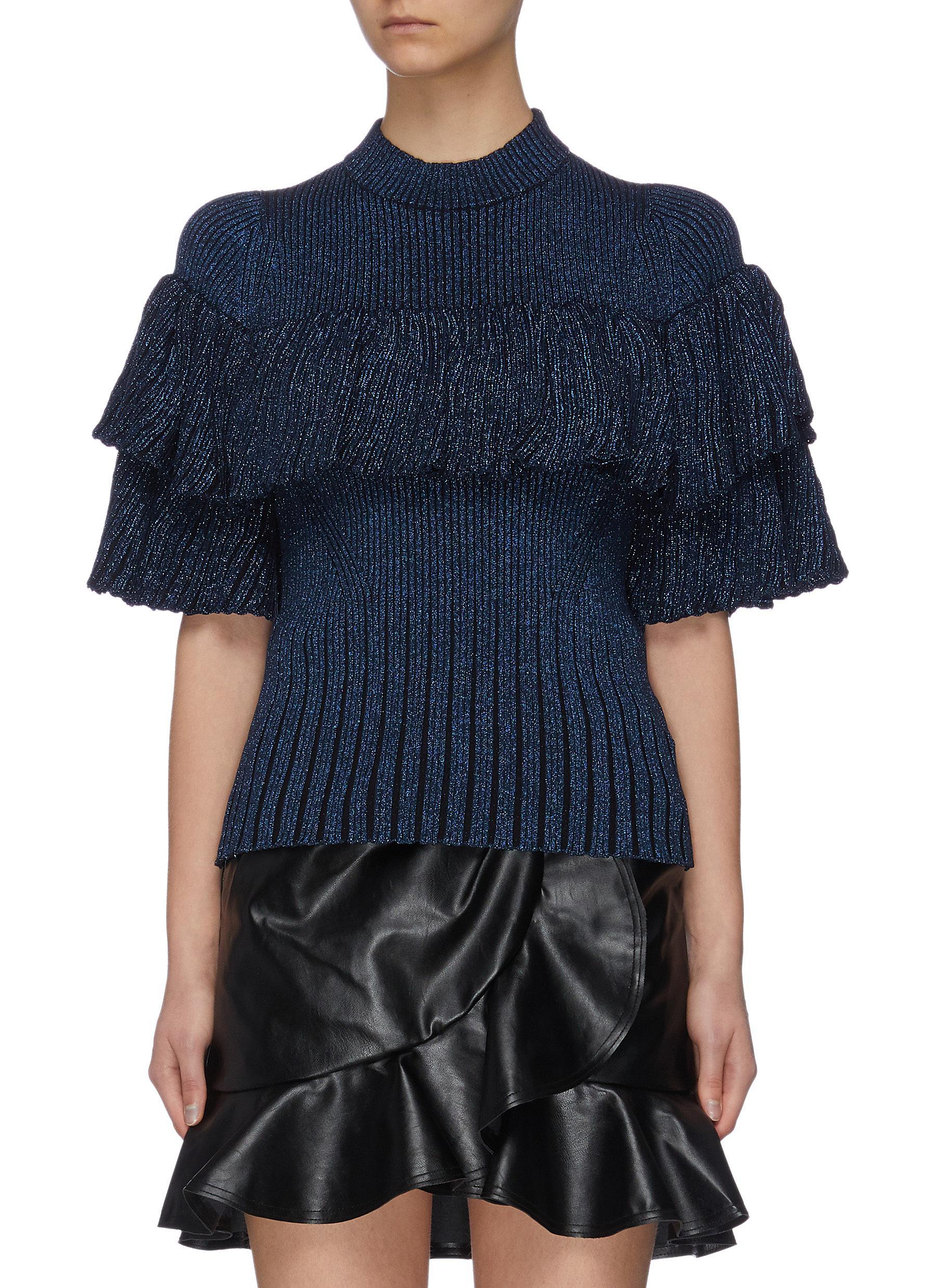 shop Self-Portrait Layered ruffle rib knit sweater online