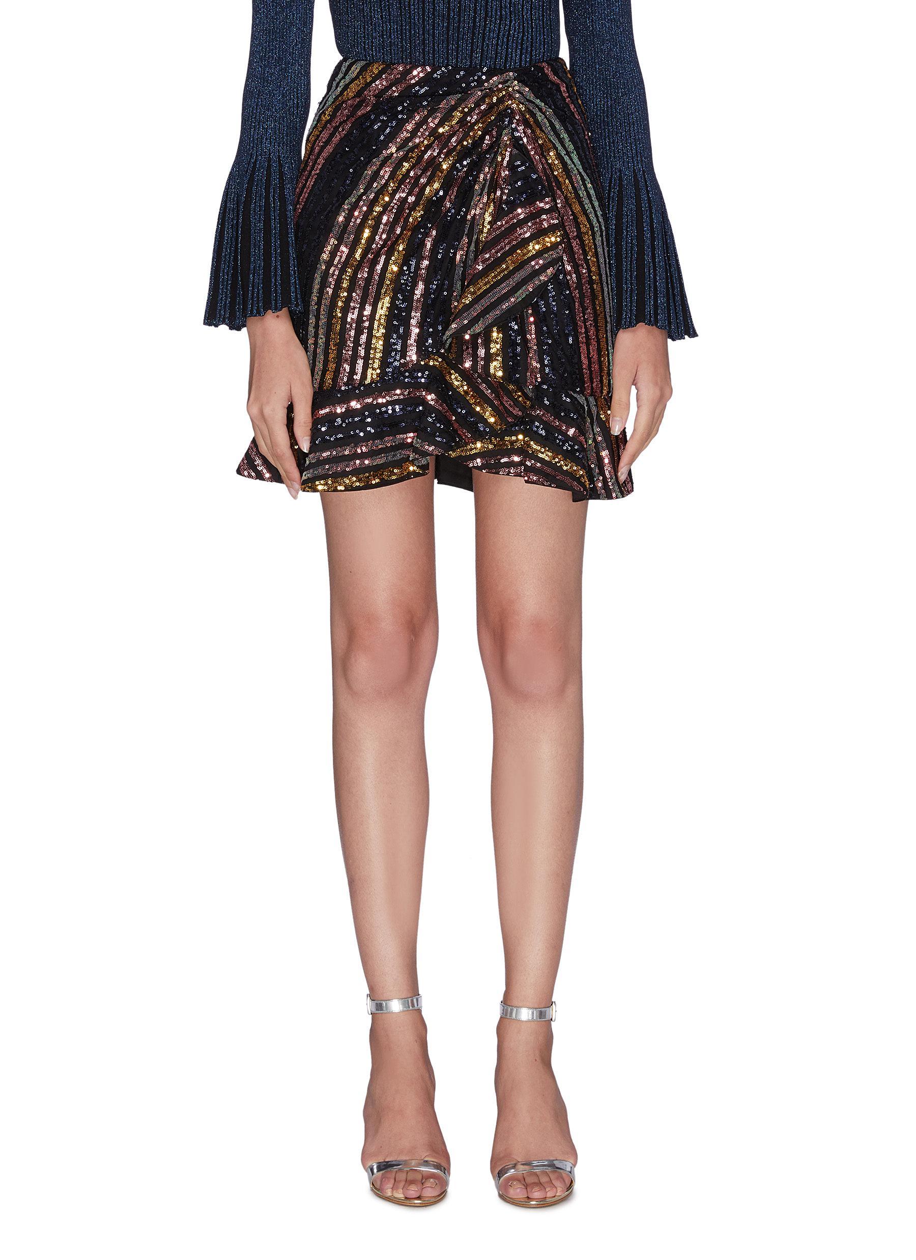 shop Self-Portrait Stripe sequin embellished flare hem mini skirt online