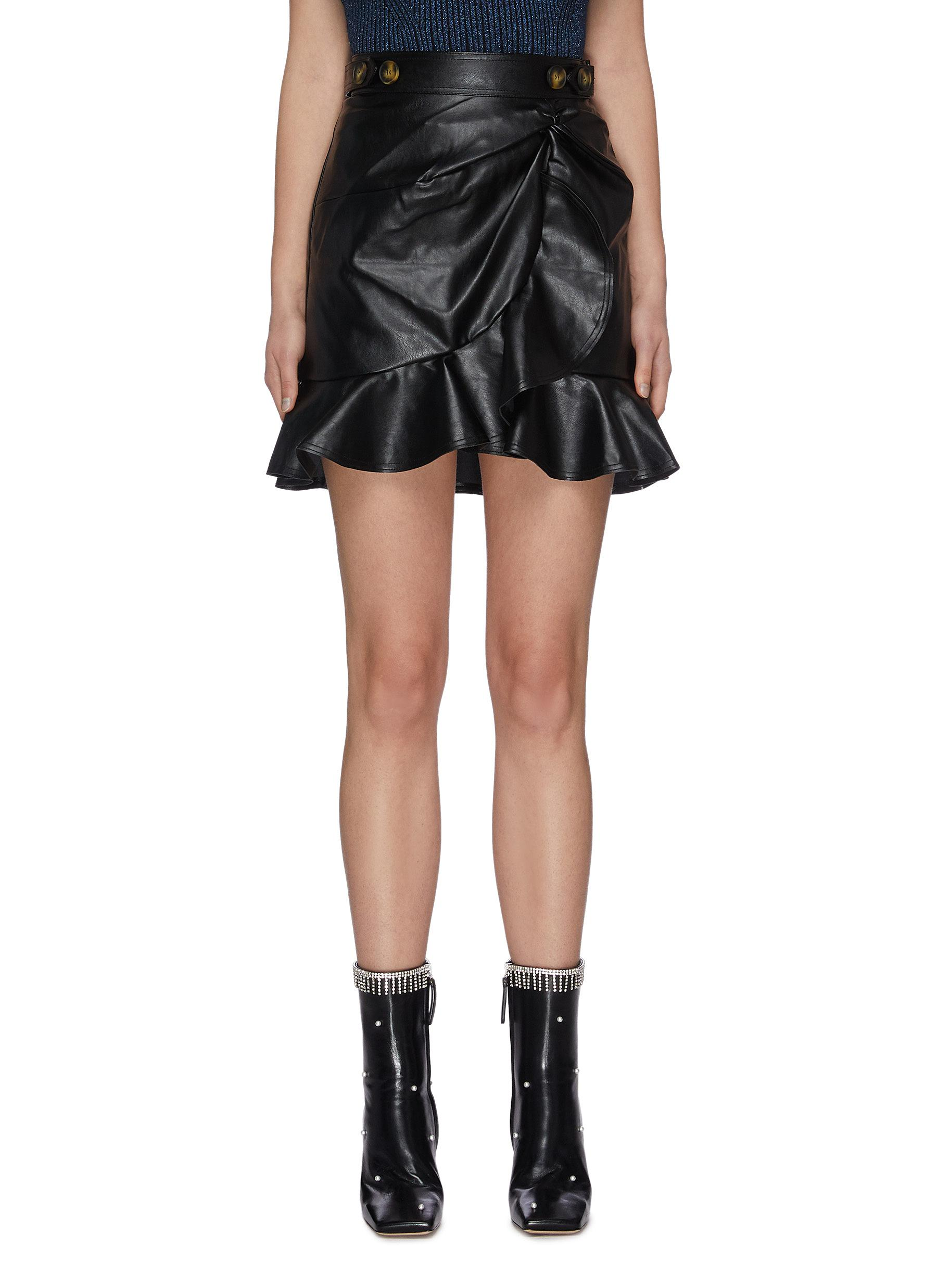 shop Self-Portrait Gathered leather mini skirt online