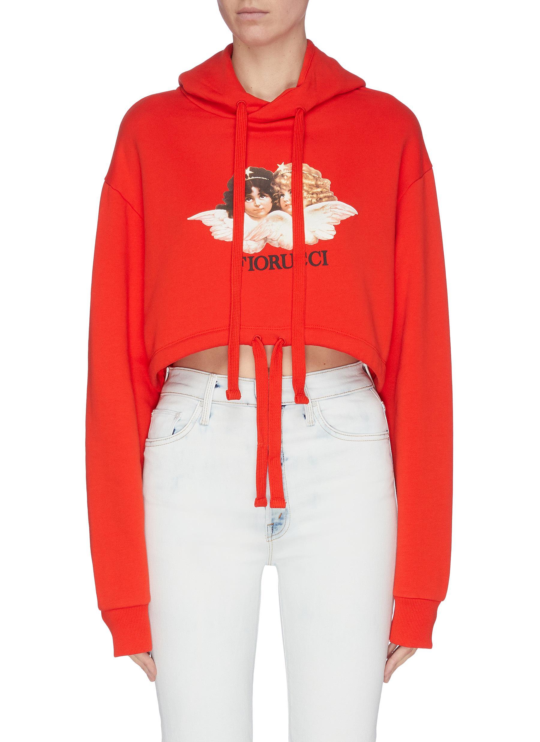 shop Fiorucci Vintage angel print crop hoodie online
