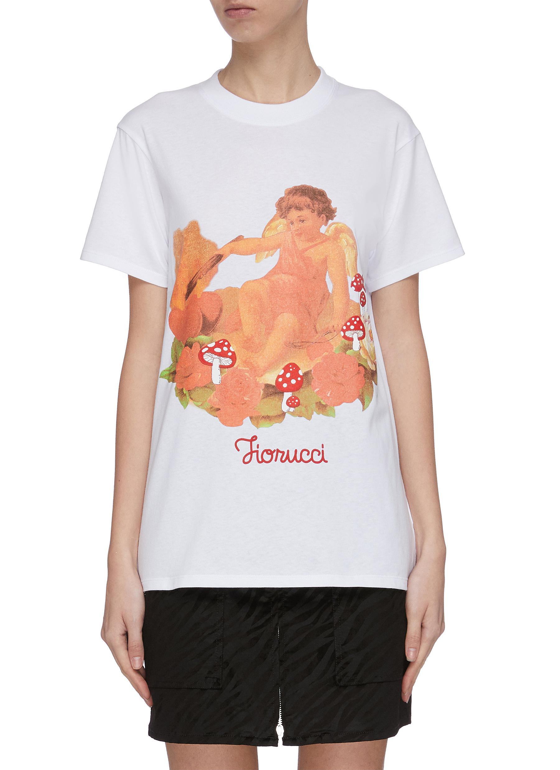 Buy Fiorucci Tops Cherub roses logo print T-shirt