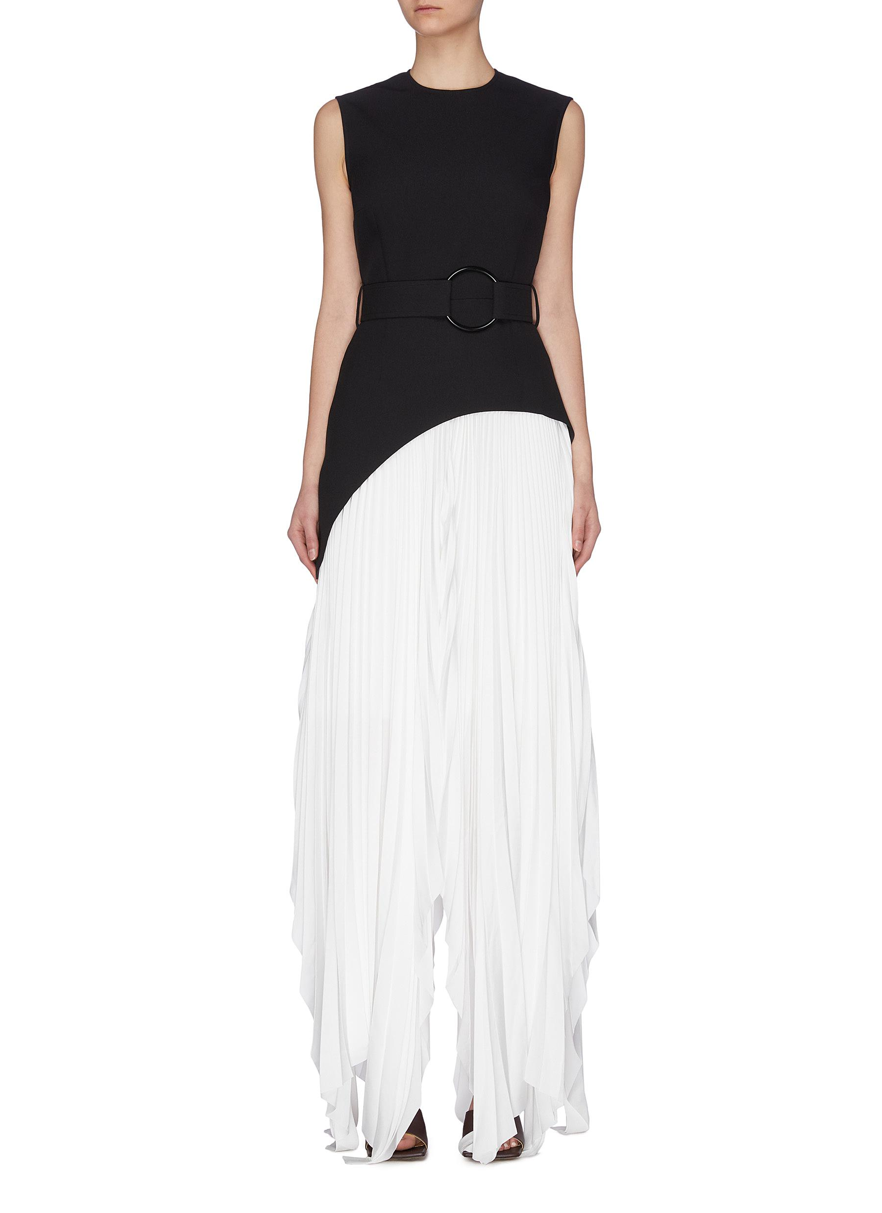 shop Solace London 'Anya' belted sleeveless asymmetric pleated maxi dress online