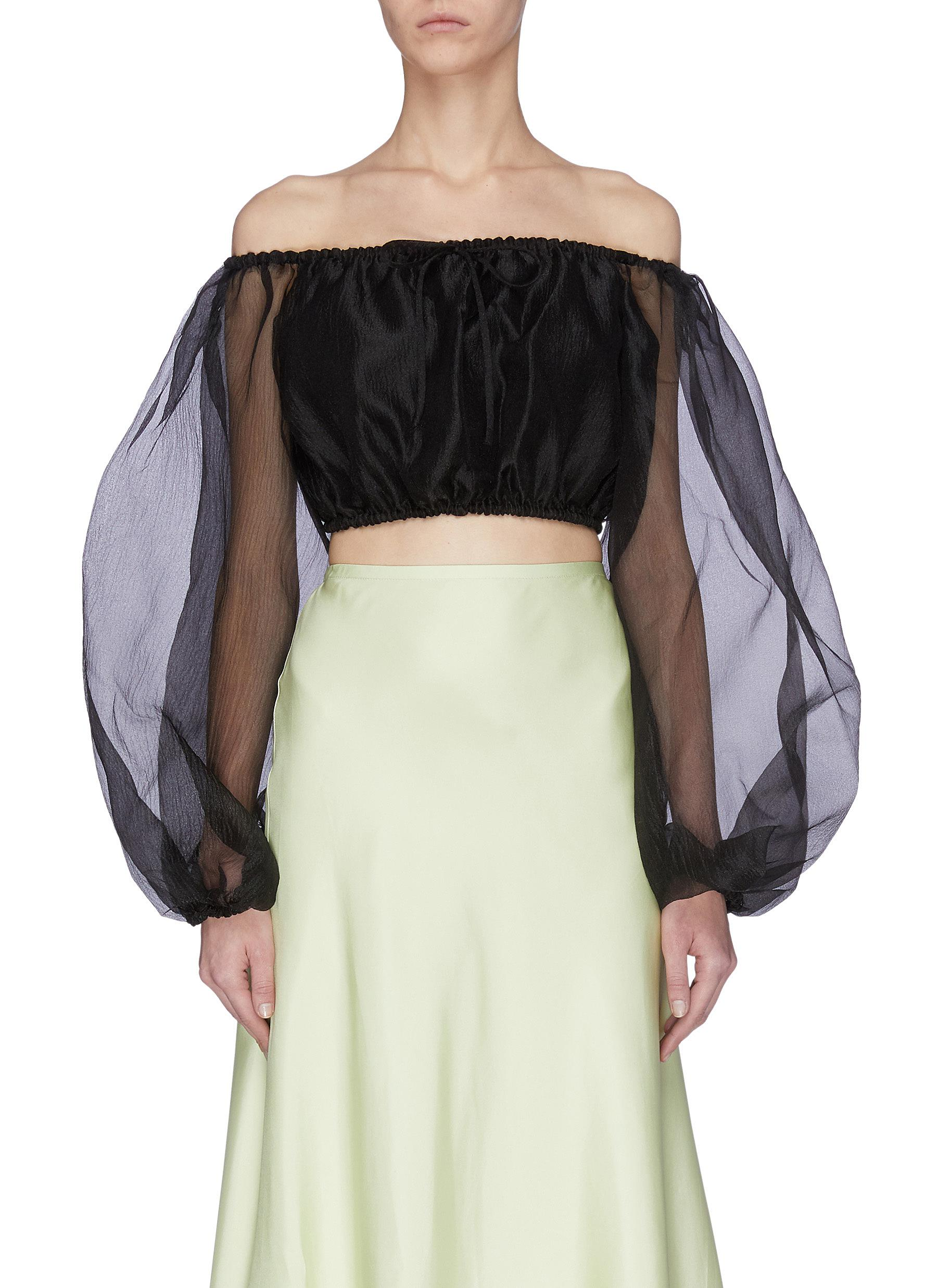 shop Staud 'Leilani' off shoulder sheer sleeves top online