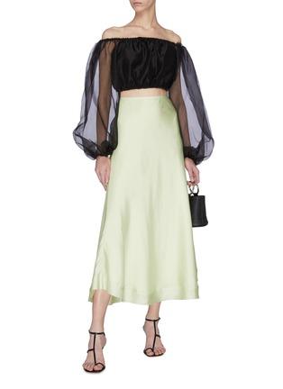 Figure View - Click To Enlarge - STAUD - 'Leilani' off shoulder sheer sleeves top