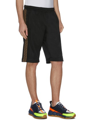 Detail View - Click To Enlarge - FENDI SPORT - 'FF' Logo embroidered outseam detachable short sweatpants