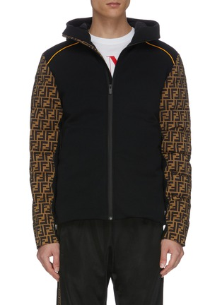 Main View - Click To Enlarge - FENDI SPORT - Contrast logo print sleeves hooded padded down jacket