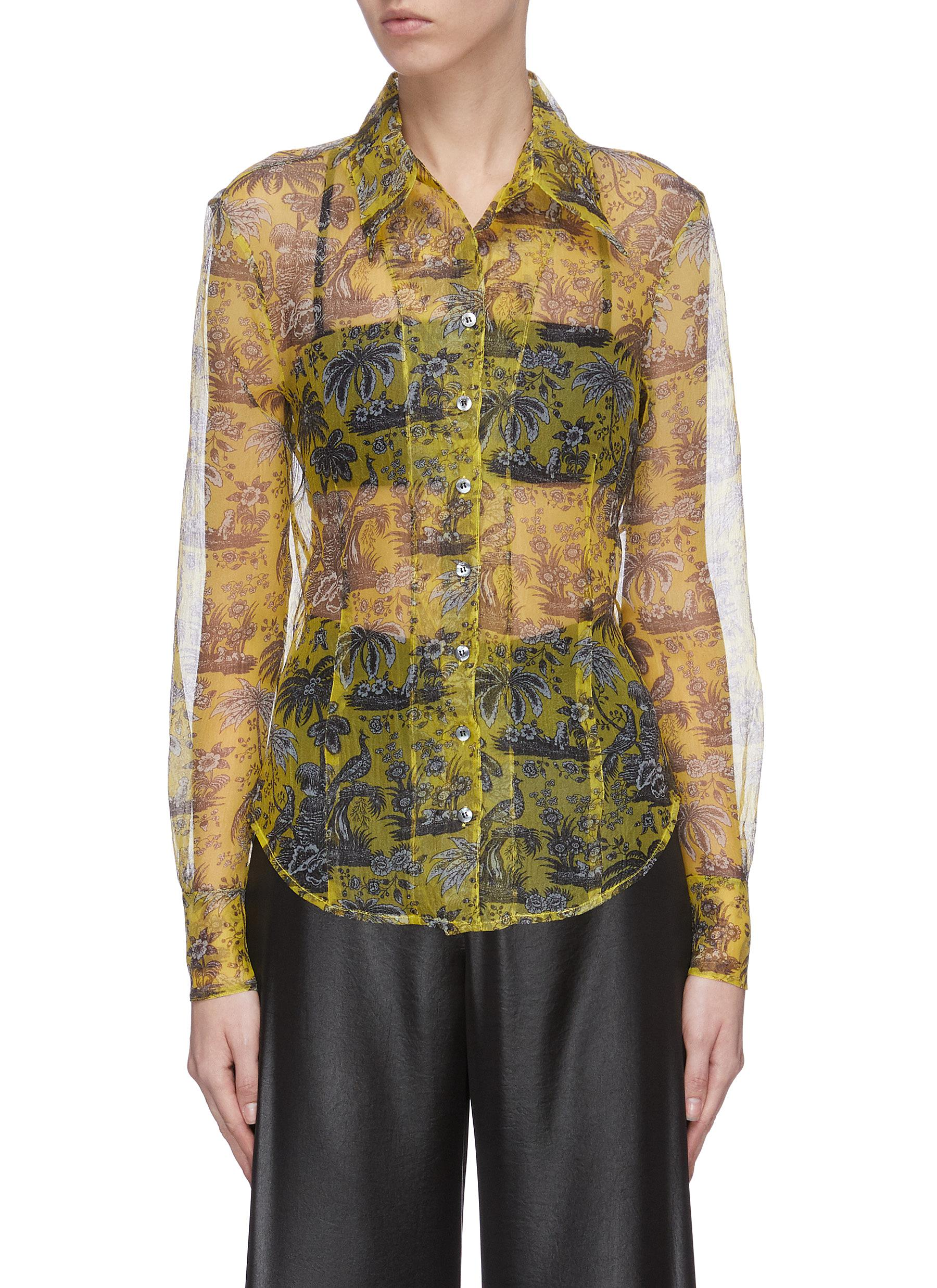 shop Staud 'Brady' graphic print sheer organza top online