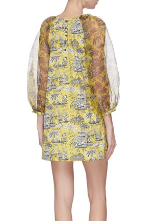 Back View - Click To Enlarge - STAUD - 'Garden' puff sleeve graphic print mini dress
