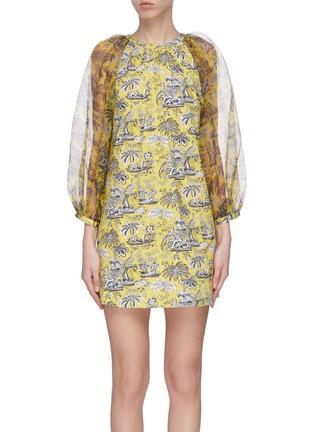 Main View - Click To Enlarge - STAUD - 'Garden' puff sleeve graphic print mini dress