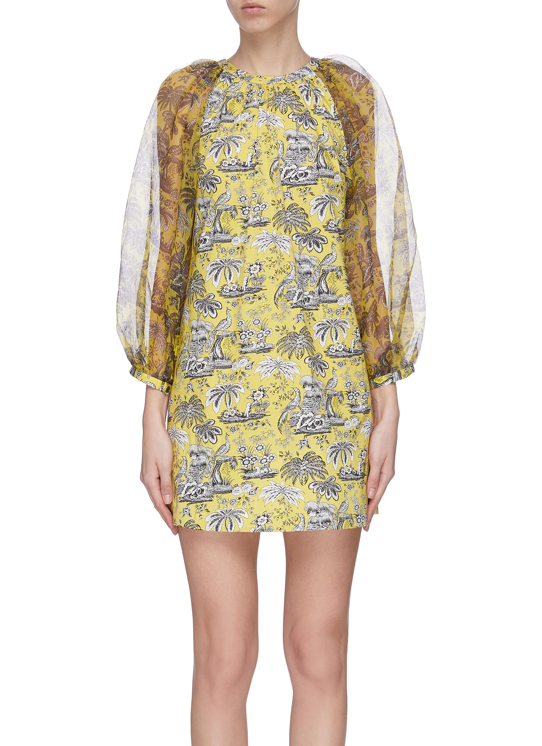 shop Staud 'Garden' puff sleeve graphic print mini dress online