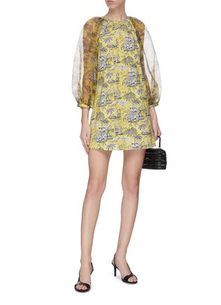 Figure View - Click To Enlarge - STAUD - 'Garden' puff sleeve graphic print mini dress