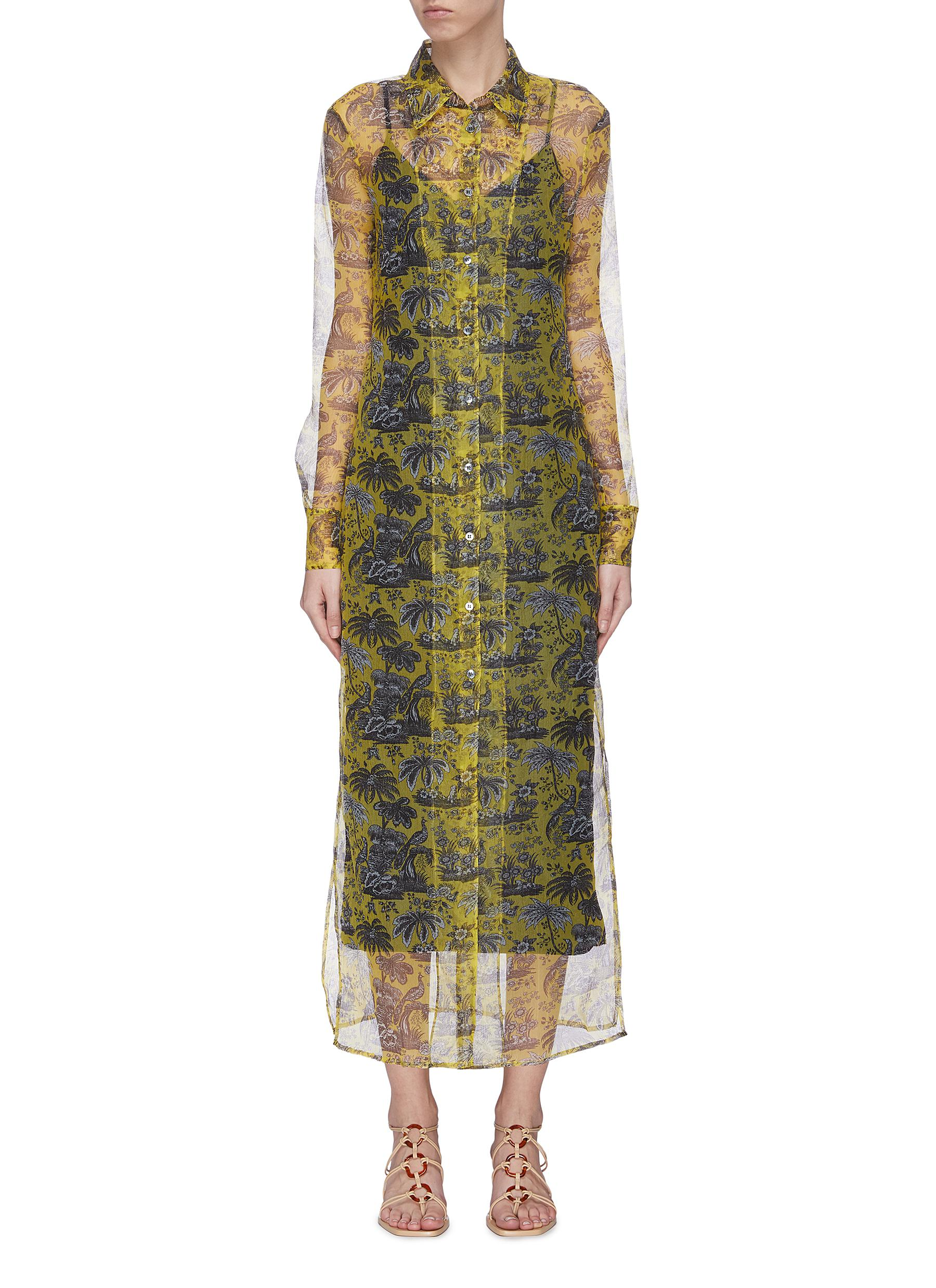 shop Staud 'Frank' graphic print sheer organza dress online
