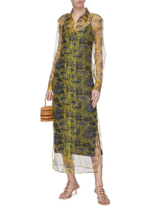 Figure View - Click To Enlarge - STAUD - 'Frank' graphic print sheer organza dress