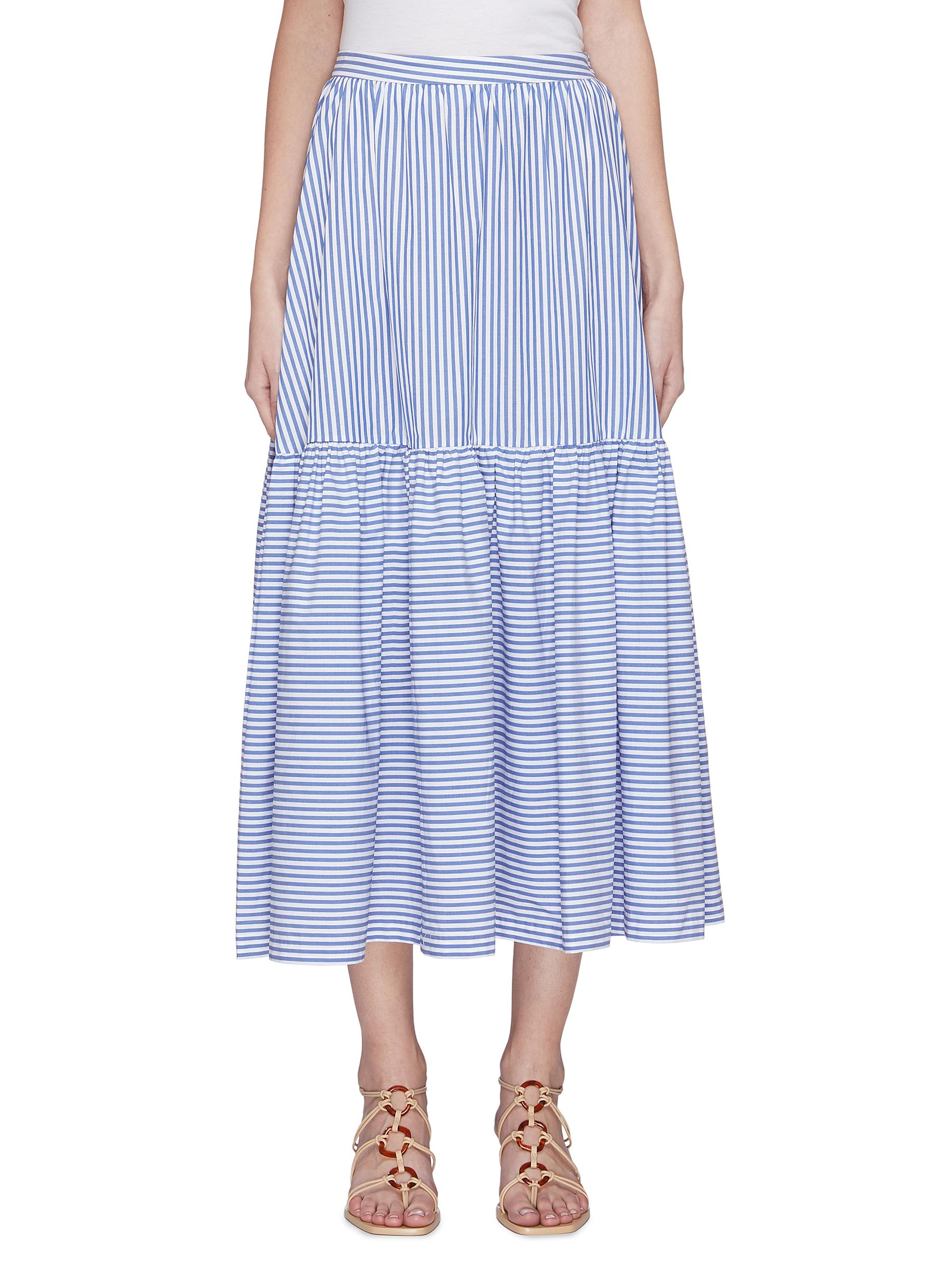 shop Staud 'Orchid' stripe midi skirt online