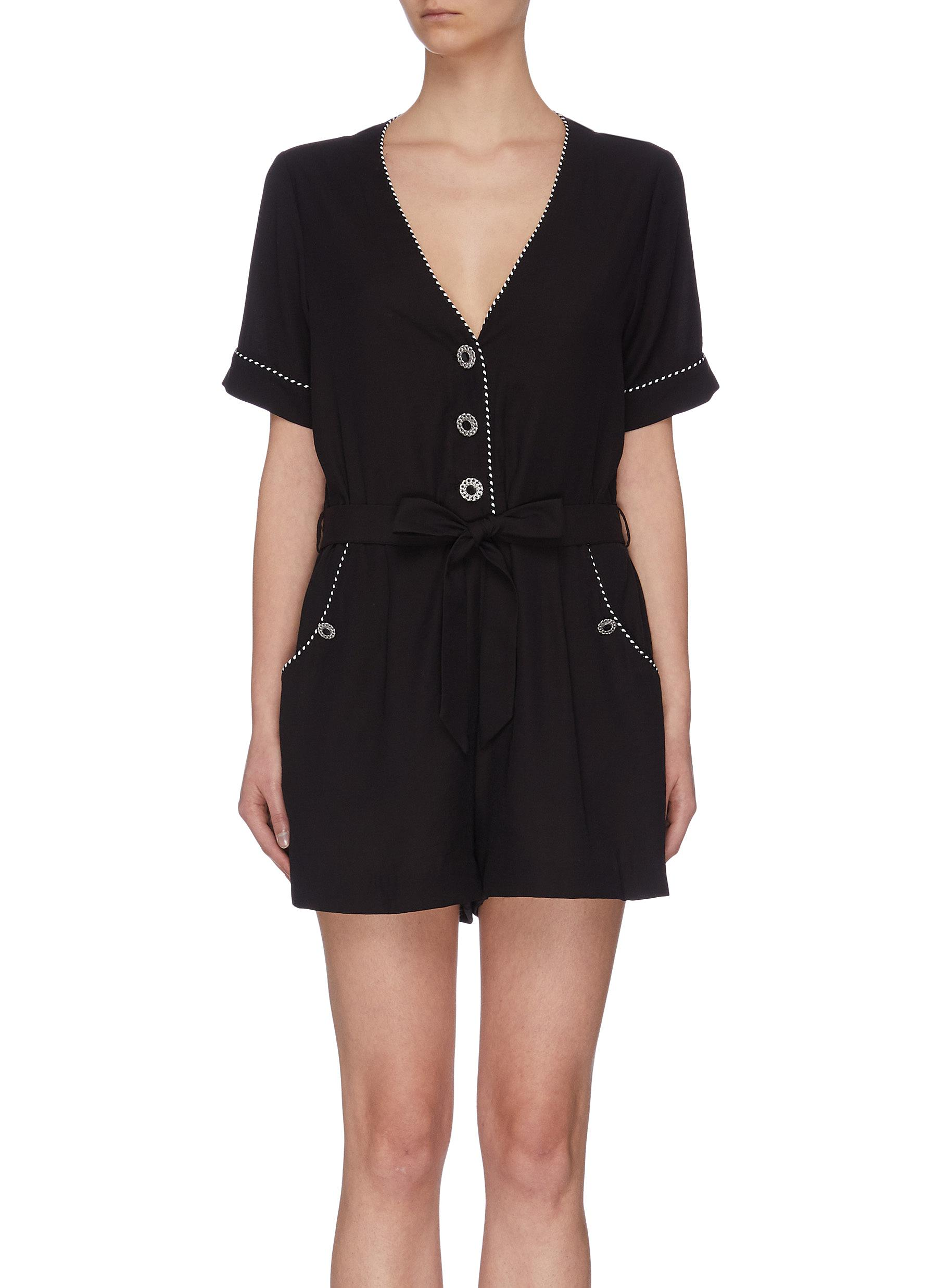 shop Jonathan Simkhai 'Luxe' contrast piping romper online
