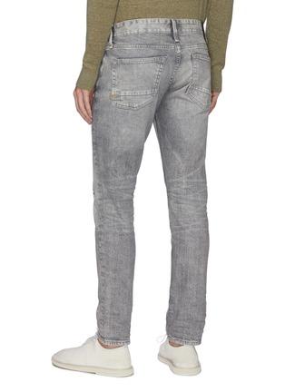 Back View - Click To Enlarge - DENHAM - 'Razor' light wash distressed slim jeans