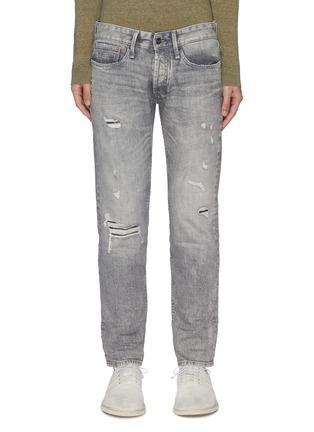 Main View - Click To Enlarge - DENHAM - 'Razor' light wash distressed slim jeans