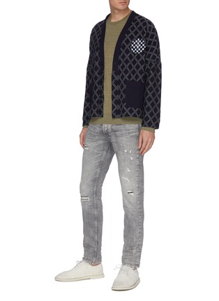 Figure View - Click To Enlarge - DENHAM - 'Razor' light wash distressed slim jeans