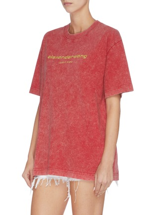 Front View - Click To Enlarge - ALEXANDER WANG - x Lane Crawford logo embroidered acid wash unisex T-shirt