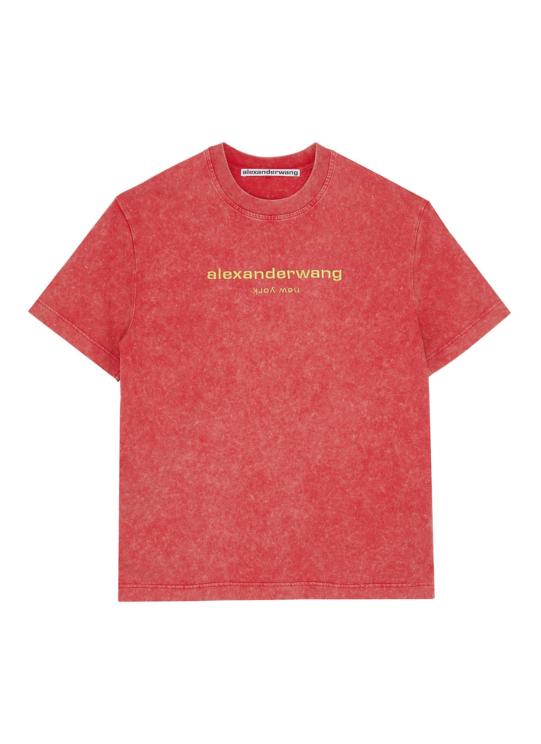 shop Alexander Wang x Lane Crawford logo embroidered acid wash unisex T-shirt online