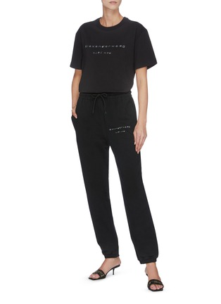 Detail View - Click To Enlarge - ALEXANDER WANG - x Lane Crawford 'Bling' logo embellished unisex jogging pants