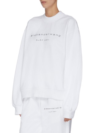 Front View - Click To Enlarge - ALEXANDER WANG - x Lane Crawford logo embellished unisex sweatshirt