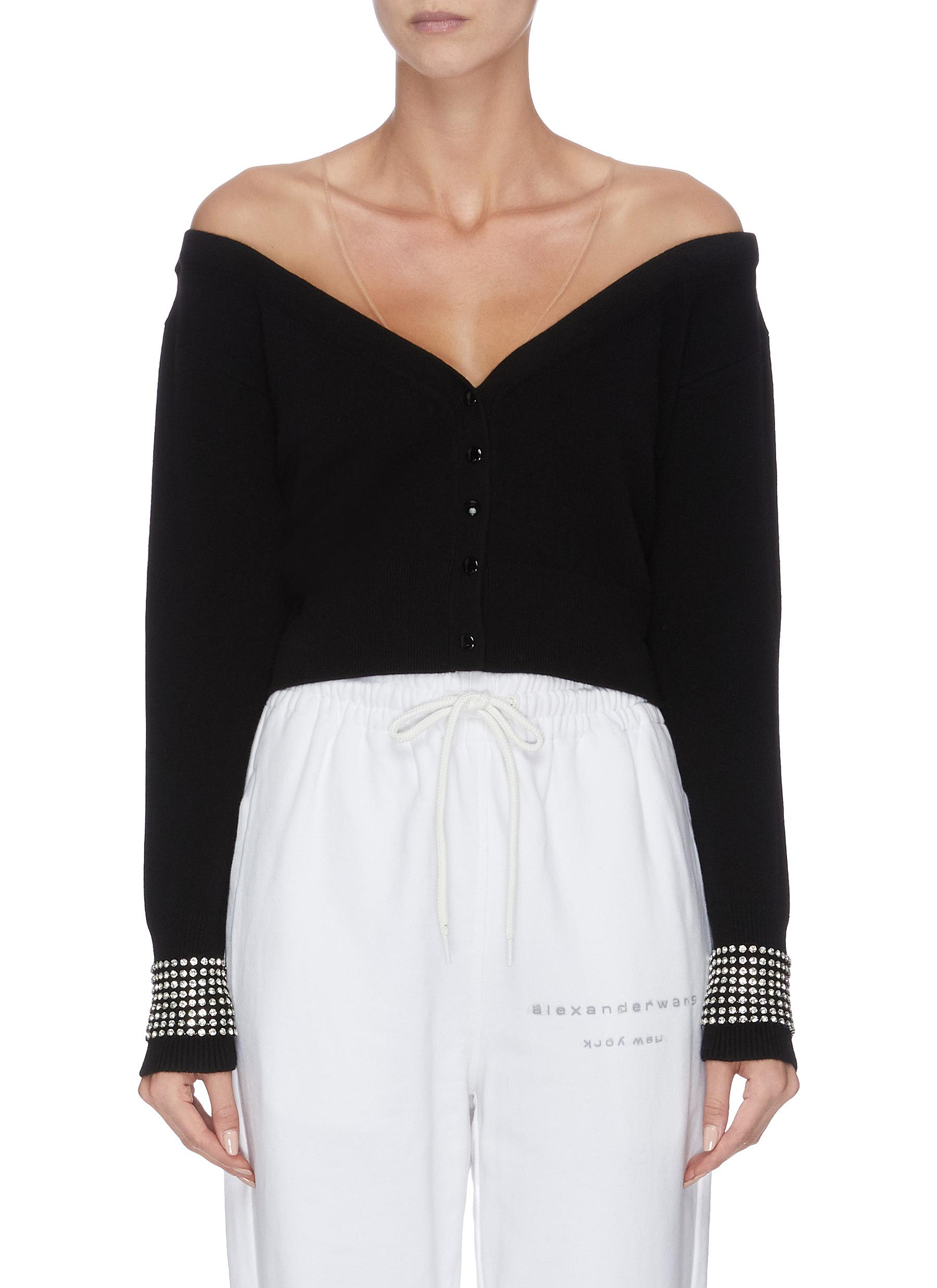 shop Alexander Wang x Lane Crawford 'Crystal Cuff' sheer panel cardigan online