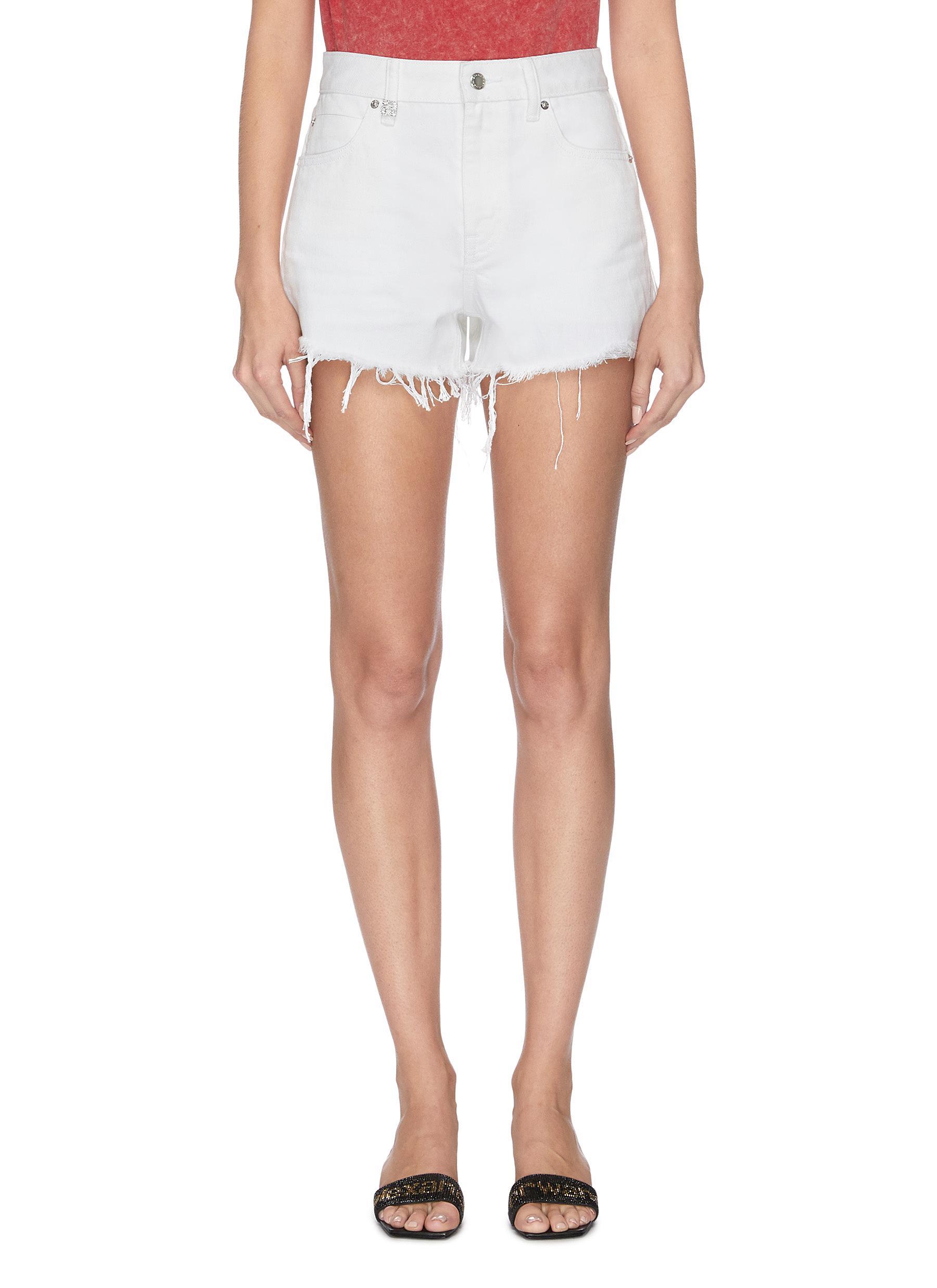 shop Alexander Wang x Lane Crawford 'Bite' frayed cuff denim shorts online
