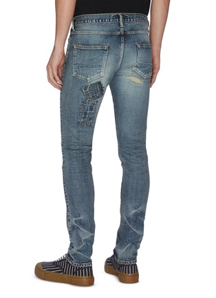 Back View - Click To Enlarge - FDMTL - Distressed boro patchwork skinny jeans
