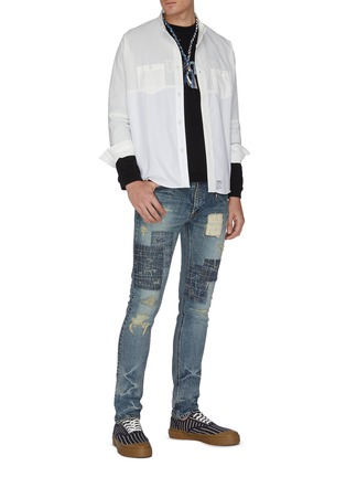 Figure View - Click To Enlarge - FDMTL - Distressed boro patchwork skinny jeans