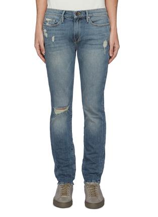 Main View - Click To Enlarge - FRAME DENIM - 'L'Homme' distressed acid wash skinny jeans