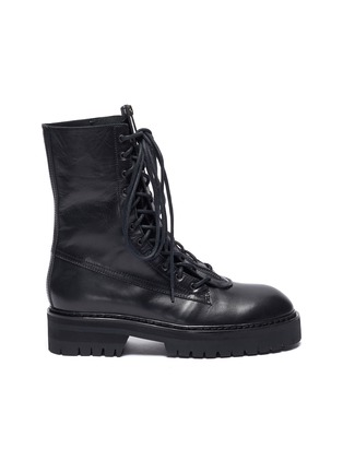 Main View - Click To Enlarge - ANN DEMEULEMEESTER - Leather combat boots