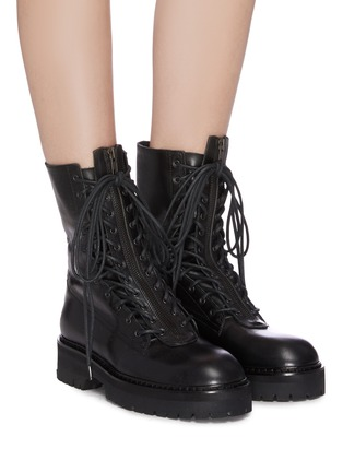 Figure View - Click To Enlarge - ANN DEMEULEMEESTER - Leather combat boots