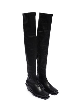 Detail View - Click To Enlarge - ANN DEMEULEMEESTER - Square toe platform leather thigh high boots