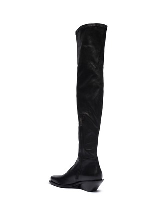- ANN DEMEULEMEESTER - Square toe platform leather thigh high boots