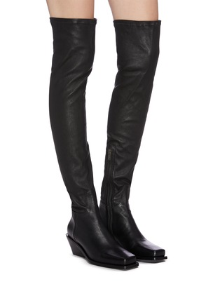 Figure View - Click To Enlarge - ANN DEMEULEMEESTER - Square toe platform leather thigh high boots