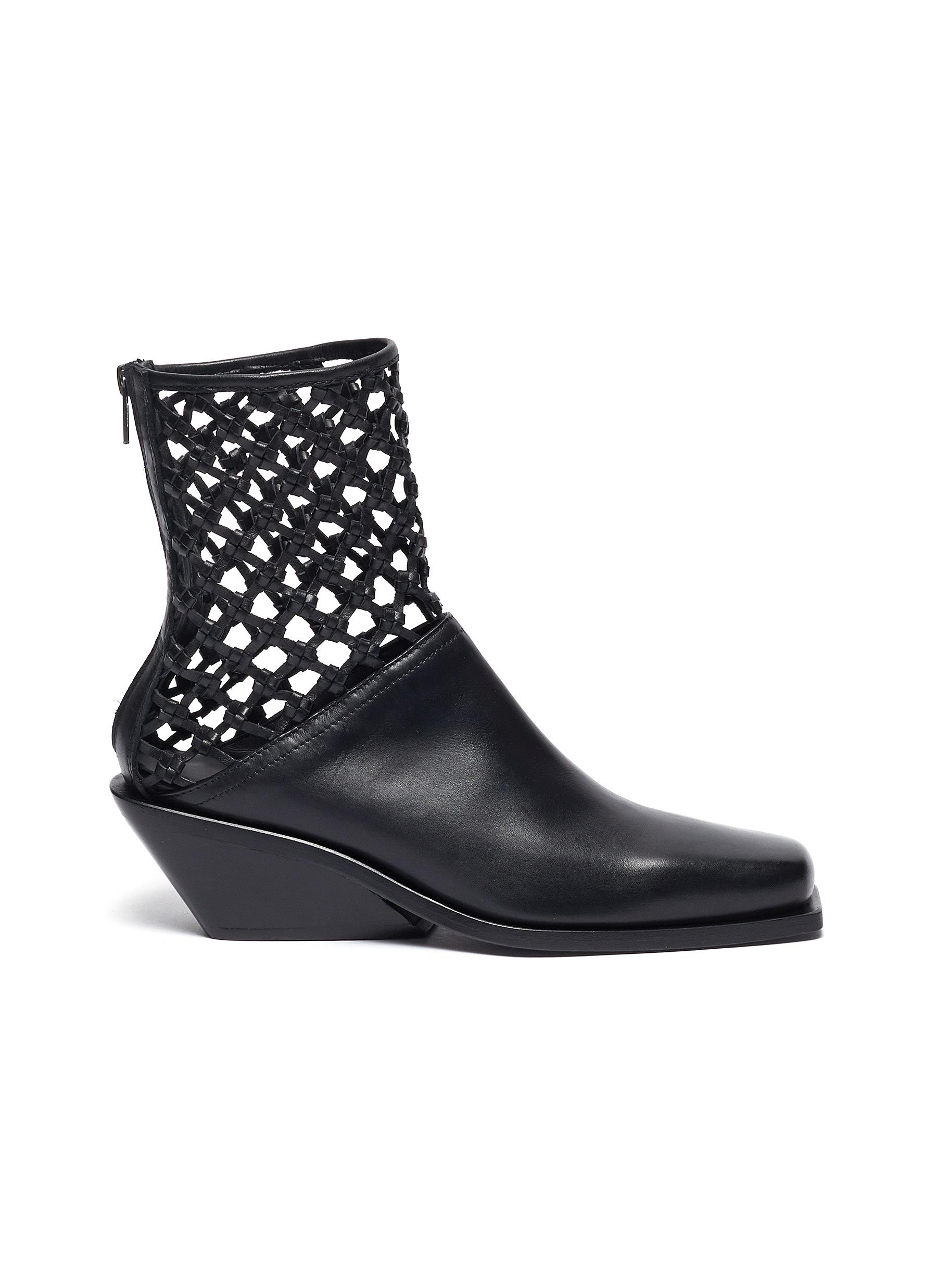Open weave ankle leather boots by Ann Demeulemeester