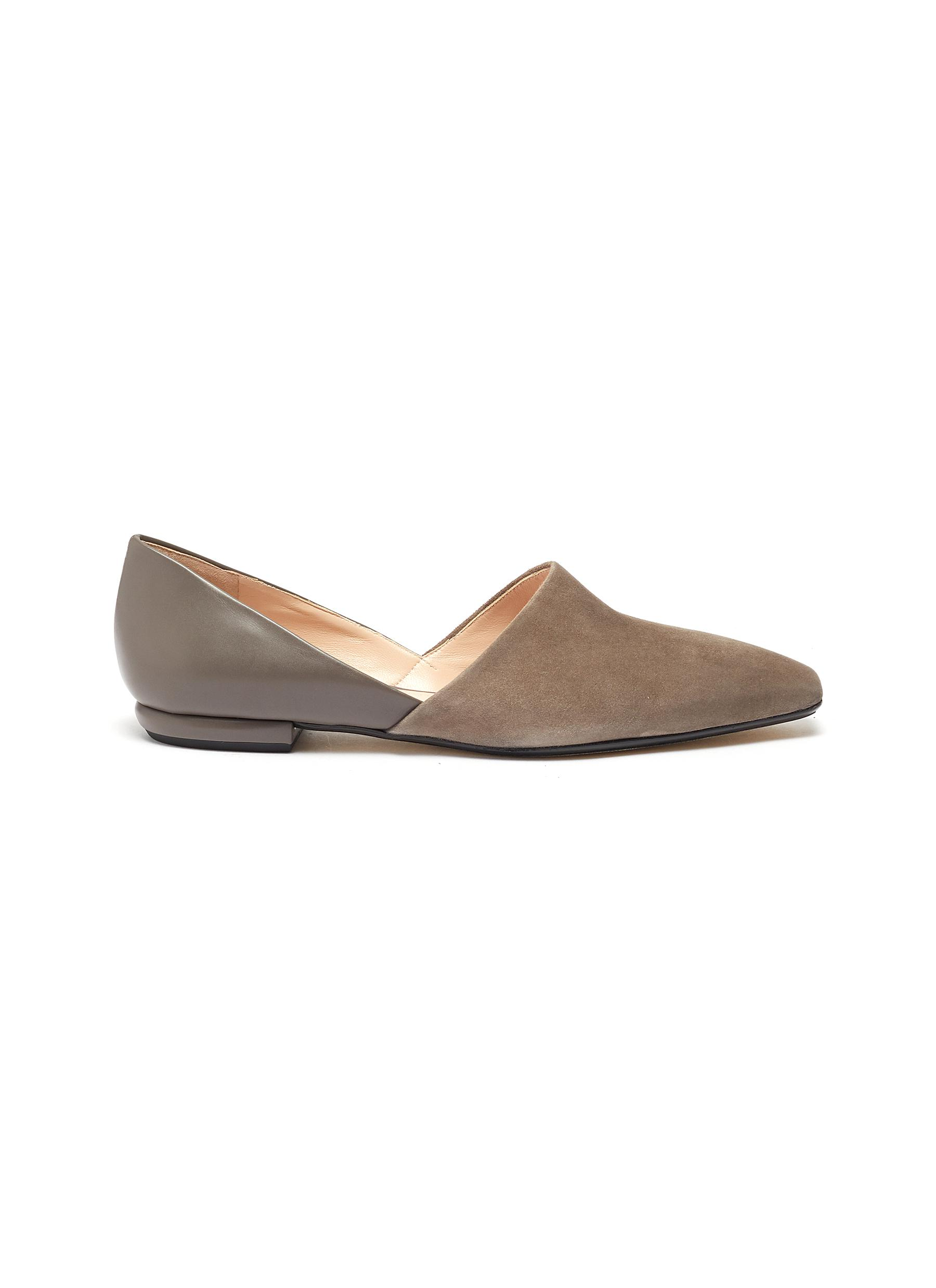 Cutout suede panel leather loafers by Rodo