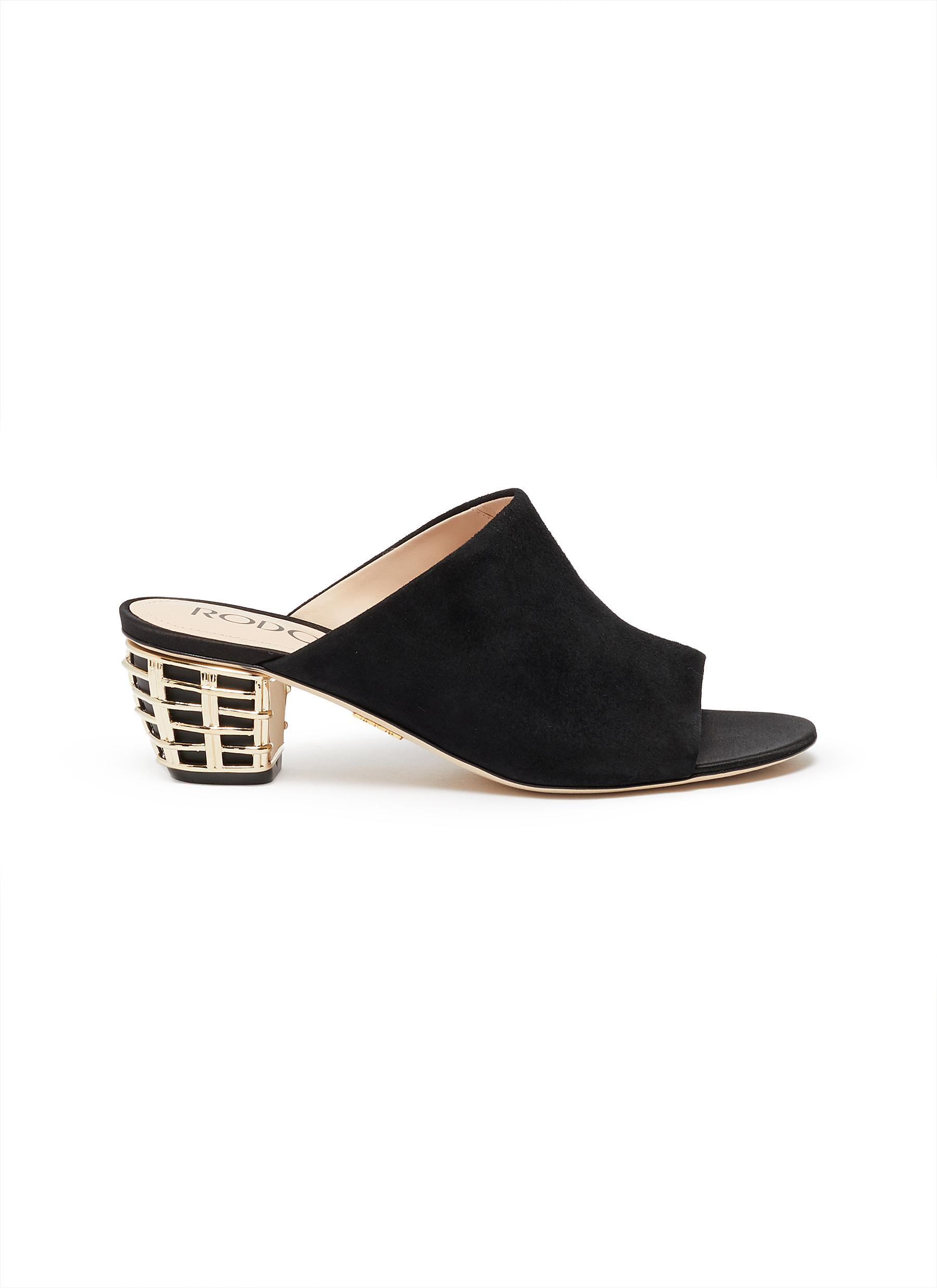 Metallic heel suede mules by Rodo