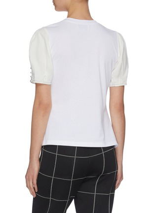 Back View - Click To Enlarge - 3.1 PHILLIP LIM - Button sleeve panelled peplum top