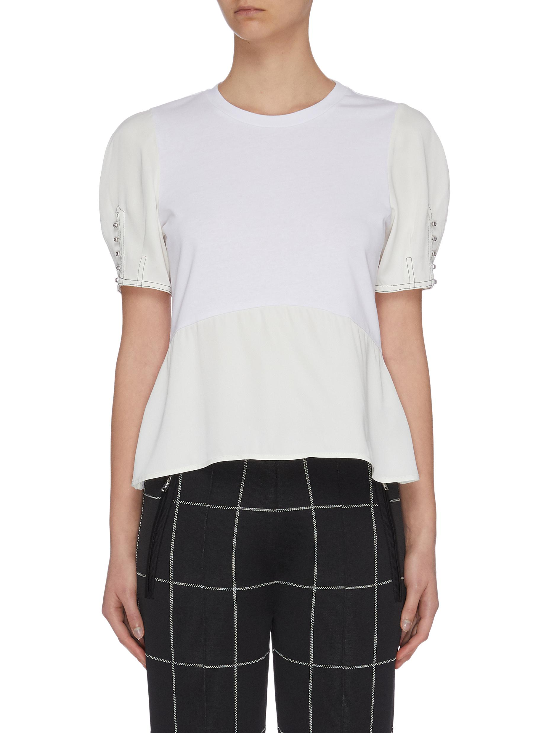 Buy 3.1 Phillip Lim Tops Button sleeve panelled peplum top