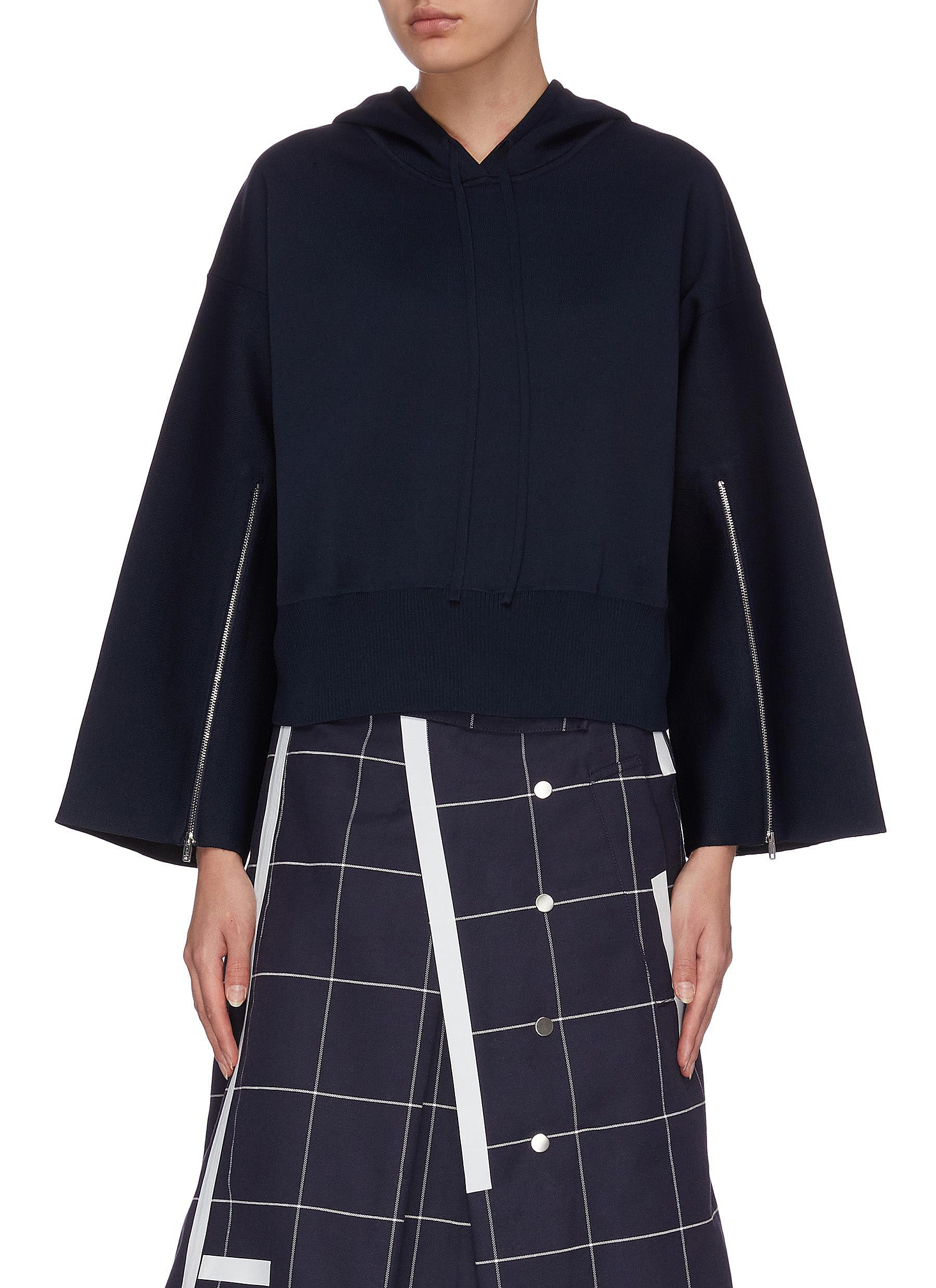 Buy 3.1 Phillip Lim Tops Zip-up split sleeves cropped hoodie