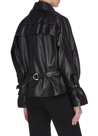 Back View - Click To Enlarge - 3.1 PHILLIP LIM - Detachable collar ruched sleeve leather jacket