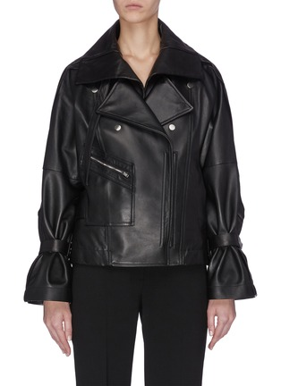 Main View - Click To Enlarge - 3.1 PHILLIP LIM - Detachable collar ruched sleeve leather jacket
