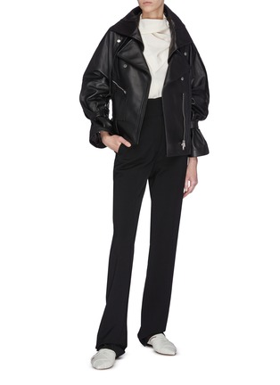 Figure View - Click To Enlarge - 3.1 PHILLIP LIM - Detachable collar ruched sleeve leather jacket