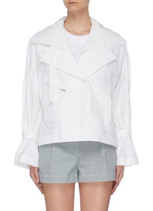 Main View - Click To Enlarge - 3.1 PHILLIP LIM - Detachable collar ruffle cuff biker jacket