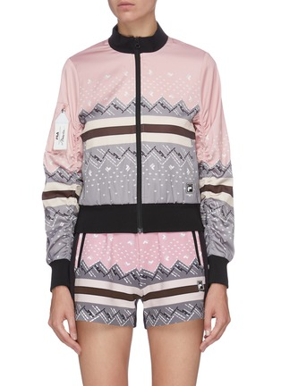 Main View - Click To Enlarge - FILA X 3.1 PHILLIP LIM - Icelandic knit print colourblock bomber jacket